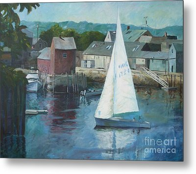 Saling In Rockport Ma Metal Print by Claire Gagnon
