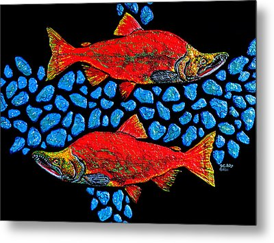 Metal Print featuring the painting Salmon by Debbie Chamberlin