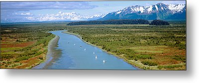 Salmon Fishing Boats At Wrangell-st Metal Print by Panoramic Images