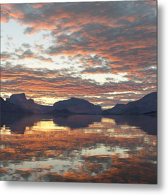 Metal Print featuring the digital art Salmon Lake Sunset by Mark Greenberg