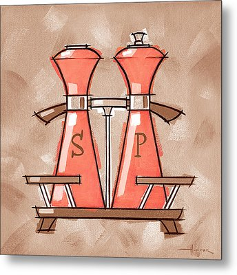 Salt And Pepper Coral And Tan Metal Print by Larry Hunter
