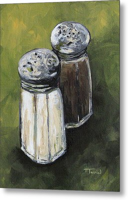 Salt And Pepper On Green Metal Print by Torrie Smiley