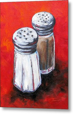 Salt And Pepper On Red Metal Print by Torrie Smiley