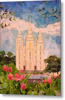 Salt Lake City Temple Metal Print by Robin Birrell