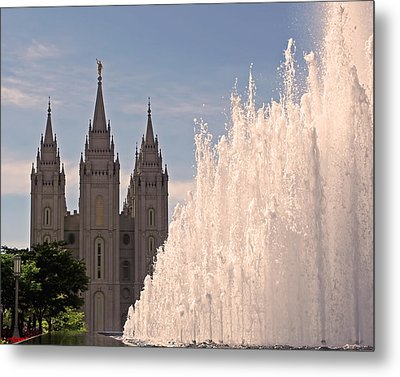 Salt Lake Temple And Fountain Metal Print by Rona Black