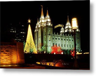Salt Lake Temple Christmas Tree Metal Print by La Rae  Roberts