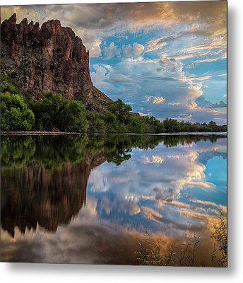 Metal Print featuring the photograph Salt River Sunset Reflections by Dave Dilli