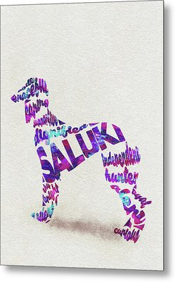 Metal Print featuring the painting Saluki Dog Watercolor Painting / Typographic Art by Inspirowl Design