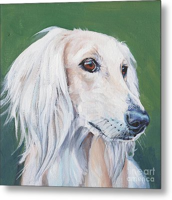 Metal Print featuring the painting Saluki Sighthound by Lee Ann Shepard