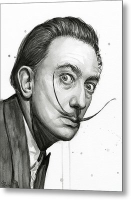 Salvador Dali Portrait Black And White Watercolor Metal Print