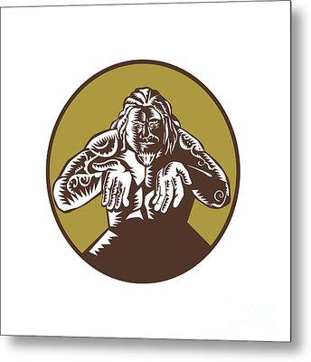 Samoan God Tagaloa Arms Out Circle Woodcut Metal Print