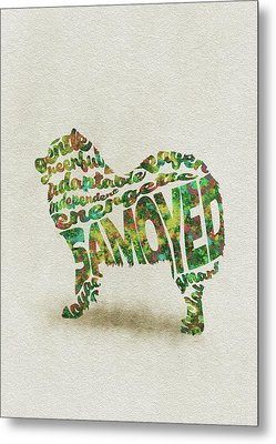 Metal Print featuring the painting Samoyed Watercolor Painting / Typographic Art by Inspirowl Design