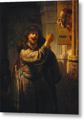 Samson Threatening His Father-in-law Metal Print by Rembrandt