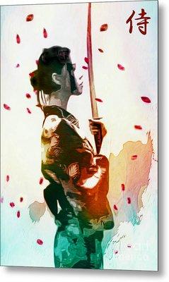 Samurai Girl - Watercolor Painting Metal Print
