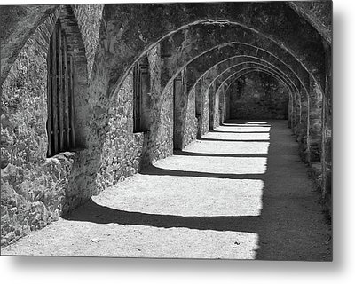 Metal Print featuring the photograph San Antonio Mission San Jose - Black And White by Gregory Ballos