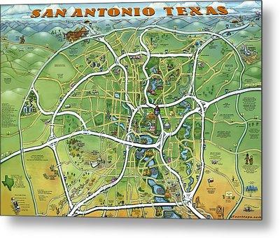 San Antonio Texas Cartoon Map Metal Print