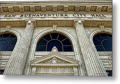 Metal Print featuring the photograph San Buenaventura City Hall by John A Rodriguez