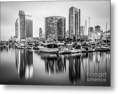 San Diego At Night Black And White Picture Metal Print