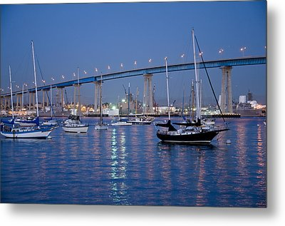 San Diego Bay At Nightfall Metal Print