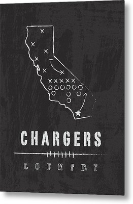 San Diego Chargers Art - Nfl Football Wall Print Metal Print