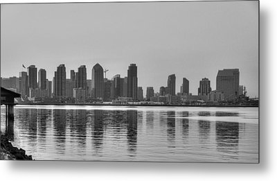 San Diego Skyline Black And White Metal Print