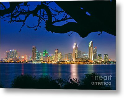 San Diego Skyline From Bay View Park In Coronado Metal Print