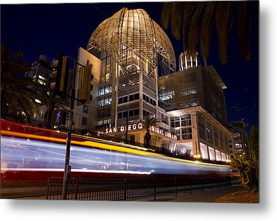 Metal Print featuring the photograph San Diego Trolley In Front Of The San Diego Public Library by Nathan Rupert