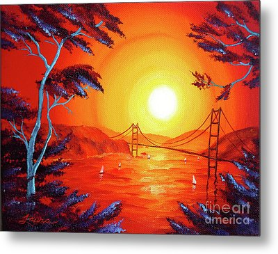 San Francisco Bay In Bright Sunset Metal Print by Laura Iverson