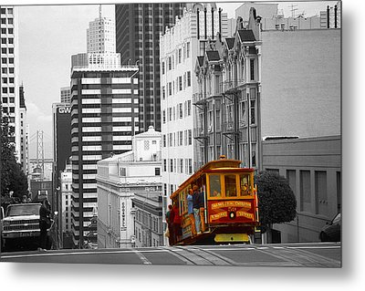 Red Cable Car - San Francisco Highlight Metal Print by Art America Gallery Peter Potter