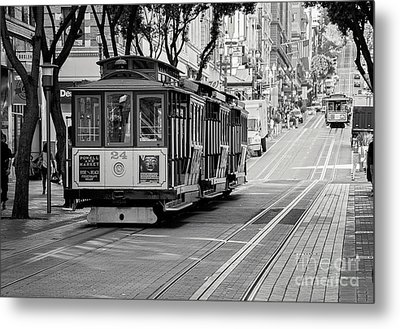Metal Print featuring the photograph San Francisco Cable Cars by Eddie Yerkish