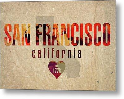 San Francisco California City Love Established 1776 Series 002 Metal Print