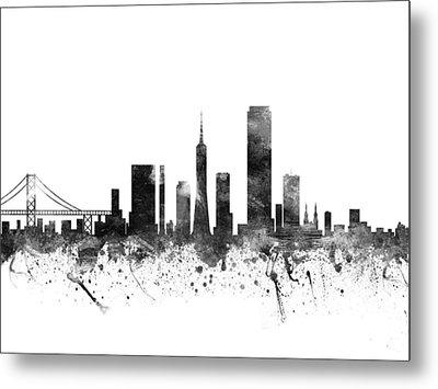 San Francisco California Cityscape 02bw Metal Print by Aged Pixel