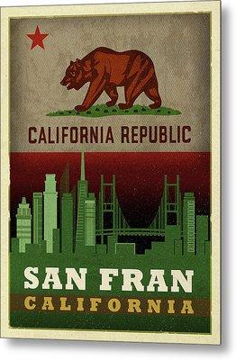 San Francisco City Skyline State Flag Of California Art Poster Series 019 Metal Print