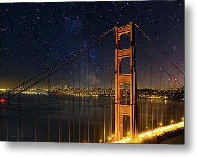 San Francisco City Skyline Through Golden Gate Bridge Metal Print by David Gn