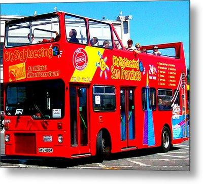 San Francisco Red Tour Bus Metal Print by Cj Carroll