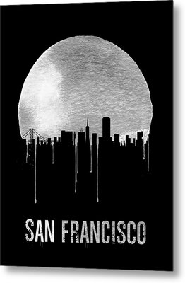 San Francisco Skyline Black Metal Print by Naxart Studio