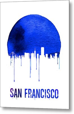 San Francisco Skyline Blue Metal Print by Naxart Studio