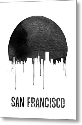 San Francisco Skyline White Metal Print by Naxart Studio