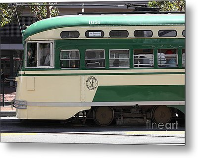 San Francisco Vintage Streetcar On Market Street - 5d17973 Metal Print by Wingsdomain Art and Photography