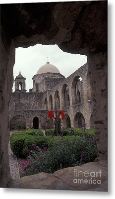 San Jose Mission Courtyard San Antonio Texas  Metal Print by John  Mitchell