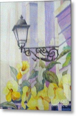 San Juan Lamp W Flowers Metal Print by Austin Burke