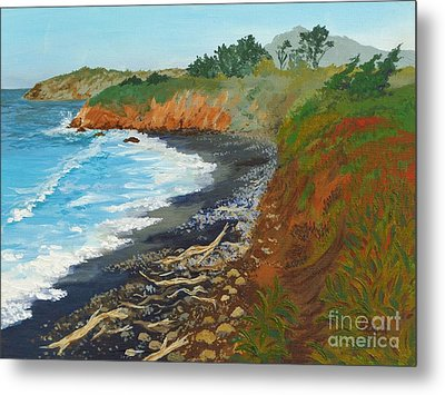 Metal Print featuring the painting San Simeon Ca Coast by Katherine Young-Beck