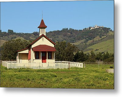 Metal Print featuring the photograph San Simeon - Castle And Schoolhouse by Art Block Collections