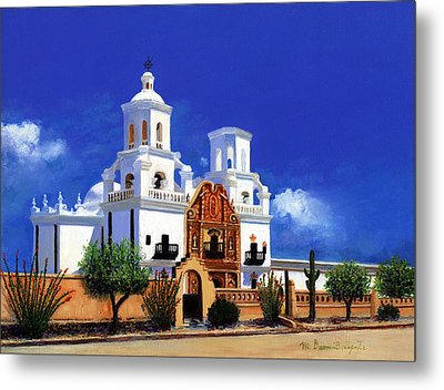 Metal Print featuring the painting San Xavier Del Bac Mission by M Diane Bonaparte