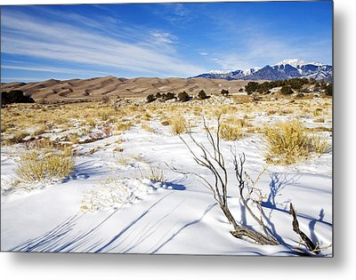Sand And Snow Metal Print by Mike  Dawson