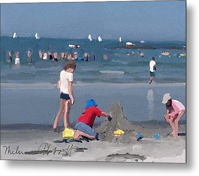 Sand Castle And Sailboats At Wingaersheek Beach Metal Print
