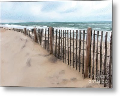 Sand Dune Fence On Outer Banks Ap Metal Print
