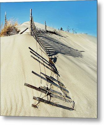 Sand Dune Fences And Shadows Metal Print