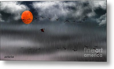 Sand Hills Flying In The Rain Metal Print