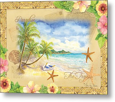 Sand Sea Sunshine On Tropical Beach Shores Metal Print by Audrey Jeanne Roberts